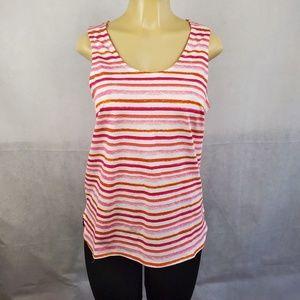 🔴2/$40🔴 Mudpie White Pink Orange Striped Tank